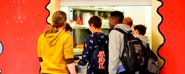 Students in a cafeteria